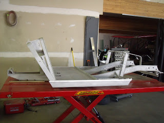 After we completely tore down the cart we sent the frame  to sandblasting so we could start with a clean slate.