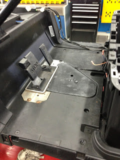 We have installed the pedal cover panel in preparation for the floor mat