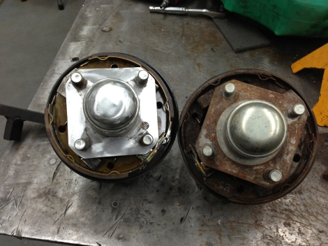 Here you can see a comparison of the newly rebuilt spindle assembly on the left and the one still needing to be rebuilt on the right.