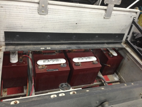 Here is a quick shot of the used battery pack as it arrives to us. Overall the batteries look pretty good. However these batteries are being changed out for brand new Trojan T-875 batteries.