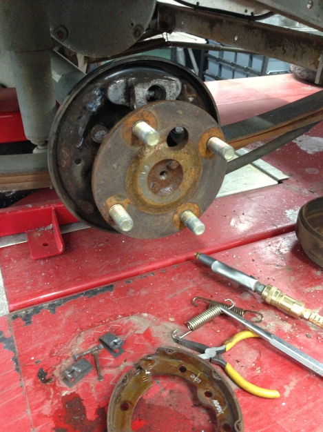 We have removed the brake pads, so that we can do a complete cleaning and inspection of the braking system. This is where we check to see if anything needs to be replaced.