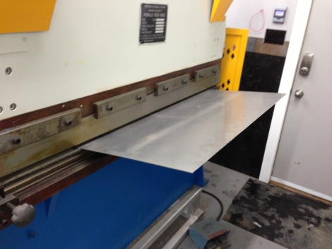 Here we are getting it ready to be bent in the press brake.