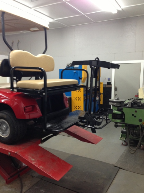 Remember our customer requested that this cart be for their resort property and for golf, so we added the rear bag carrier. Just like that it is now a great multipurpose machine.