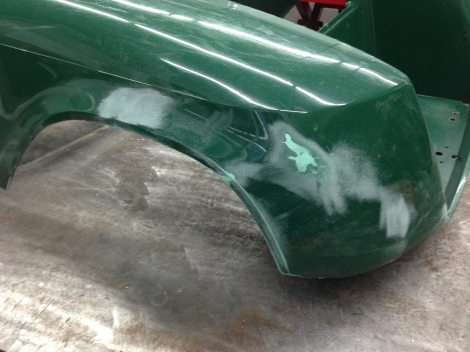 Here we are sanding down the rear fender area. This is a pretty typical wear area as it is quite exposed.