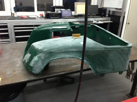 Here is a full picture of the rear body. A bit more to go then we can repair and prime the trouble areas, then we will be ready to lay down the awesome color the owner has chosen!