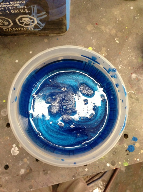 Here is the paint reduced and ready to be put into the spray gun.