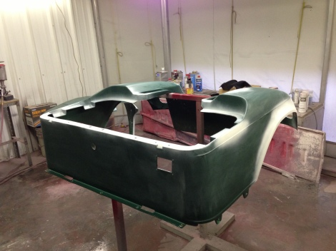 We have done a 3 stage cleaning on all the parts, tack clothed them off and used an adhesion promoter. We are now ready to put down our first layer of paint.