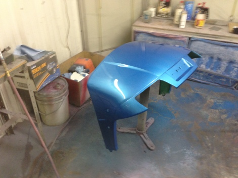 Here's the front cowl, with the clear coat laid down, it looks fantastic.
