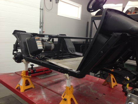 With the cart up in the air, it is a perfect time to touch up the frame.