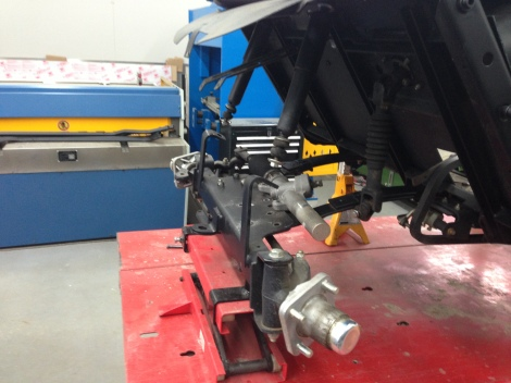 """We decided to go with a 5"""" axle drop kit on this cart, which means the complete front axle needs to be removed."""