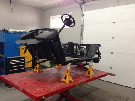Here you can see a full shot of the cart with the front end removed and the frame looking just like new.