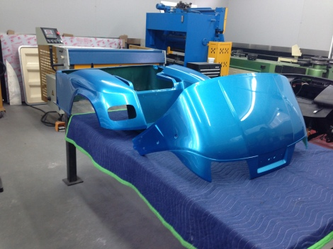Here is a picture of the body, ready to be installed. We are waiting on the lift kit and tires before installing the body.
