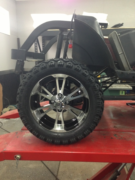 "With the rear lift installed it was time to put on the 14"" rim and 23"" tire package, they look awesome."