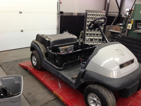 We removed the rear body. The Club Car Precedent is so nice to work with as they are designed with assembly in mind.