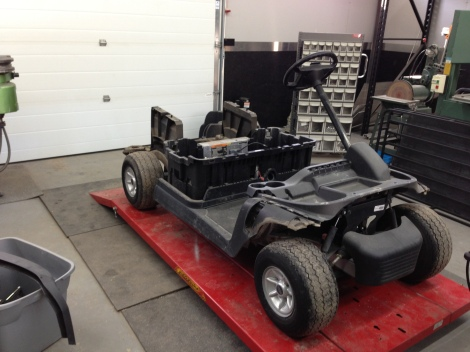 With the bodies out of the way it was time to remove the front and rear under body. This is the same procedure we do for all of are carts, regardless of if they are going to be custom or stock. It allows us to ensure everything gets inspected.