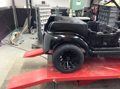 Here it is installed on the buggy. The wheels tie it all together nicely.