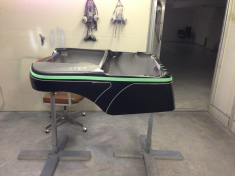 We came back to it the next day and started masking out a classy design, taking cues from wakeboard boat styling.