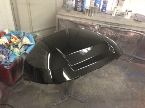 The front cowling received base coat black and several coats of high performance clear.