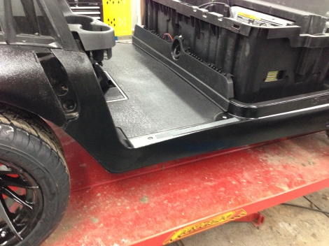 We installed the grip tape as this is typically where your outside foot rests while out cruising around. With the paint it became quite slippery and also we wanted to protect the paint from chipping and peeling the rest of the rocker panel paint off.