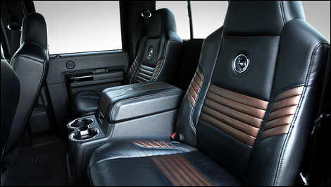 We loosely modeled the seats of this cool cart off of the 2008 F350 Harley Davidson Interior. Here is the actual truck design.
