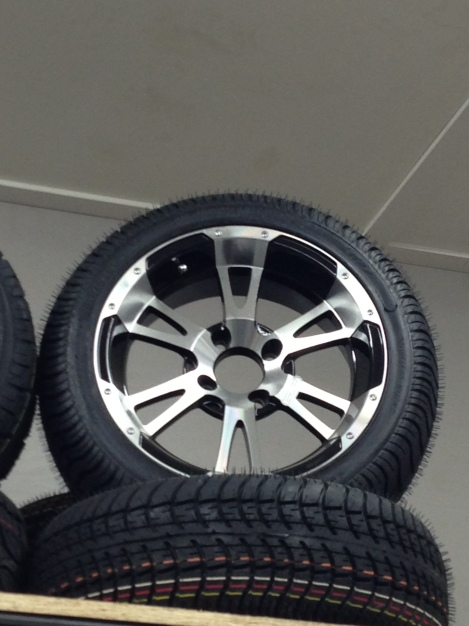 """Check out the 14"""" rim and tire package, this is going to be one sweet build!"""