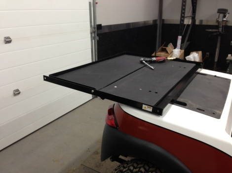 Since this cart is going to be really used, the customer wanted a rear flip seat installed.