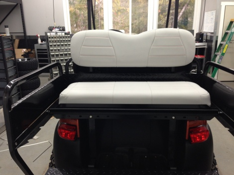 The rear flip seat cushions were done to match. A very nice simple design to add some style to this bad boy!