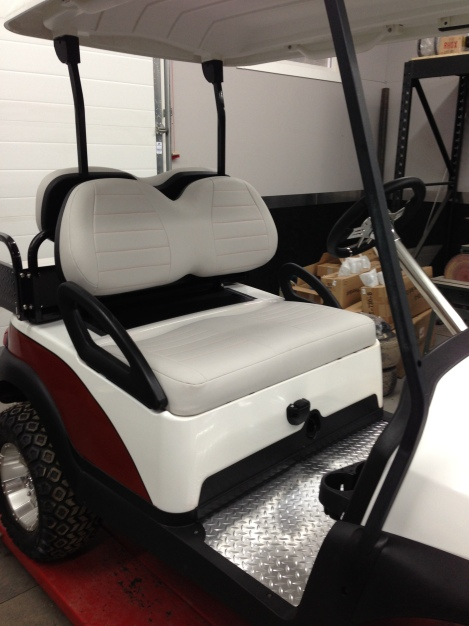 "We installed the seat bottom and roof. It really finished off the ""interior"" of this cart."