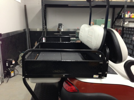 Here is the rear flip seat/box in it's ready to work form.