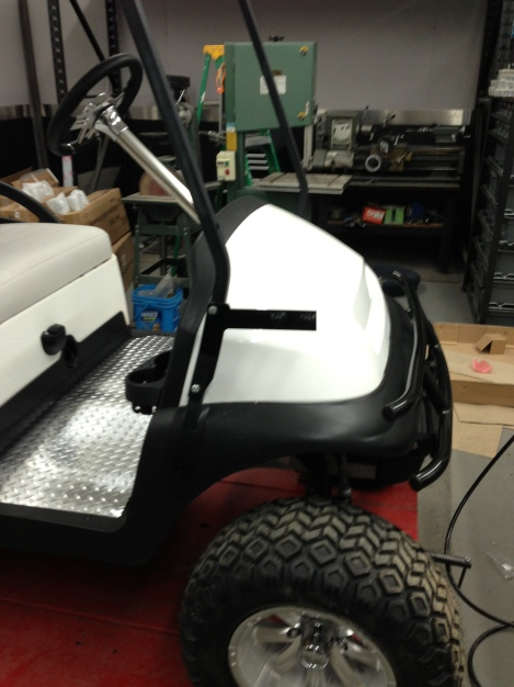 This cart is getting a front basket, here are the mounts.