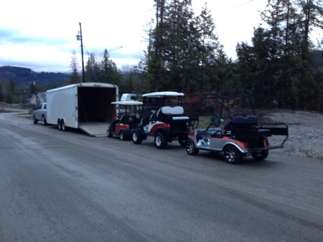All three of the customers carts lined up and ready to be loaded for the 5 hr trip west!