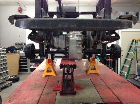 """Here is the massive 6"""" lift blocks installed on the rear end."""
