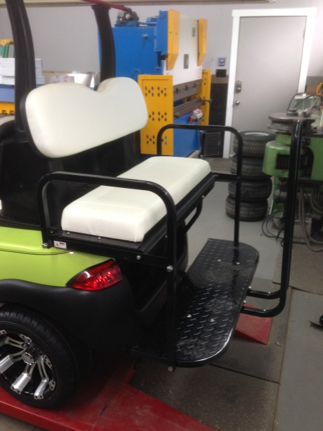 Because this cart is going to serve double purpose we the customer wanted a rear seat with a club attachment.