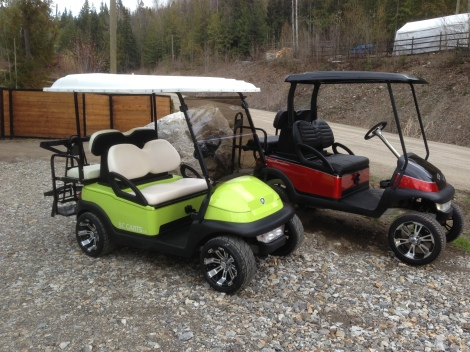 Here it is next to the completed Harley-Davidson cart. What a good looking pair of carts!