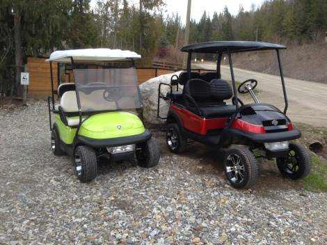 Another shot of the completed carts. We love the Club Car Precedent!