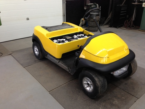 We installed the awesome yellow body on this soon to be head turning electric buggy.