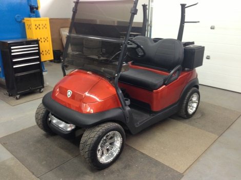 Next we installed the custom upholstery, this really sets this golf cart apart.