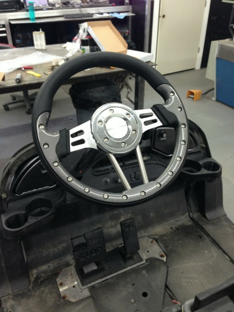 To control the beast we fitted it with a nice carbon fiber steering wheel.