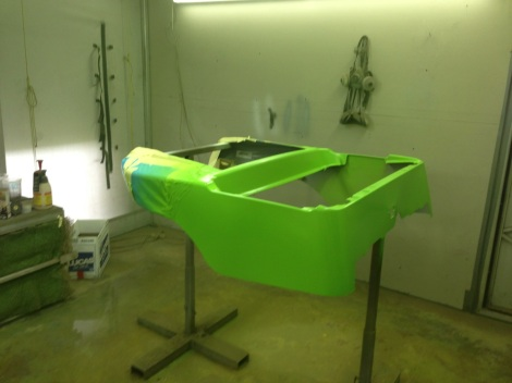 With the tail end of the cart masked off we laid down this awesome electric green paint.