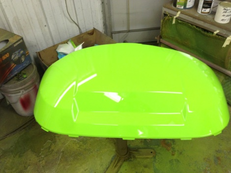 Here is the front cowling clear coated! What a cool color.