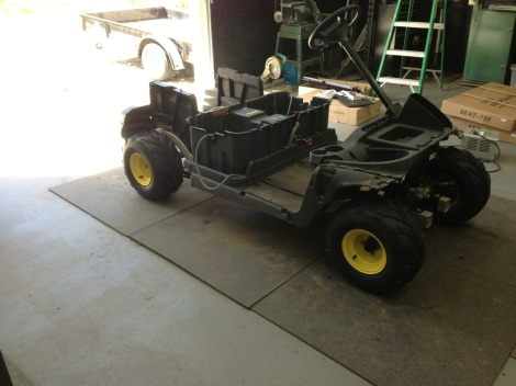 "Here it is sitting on all four ""tractor"" tires. It's looking really cool!"