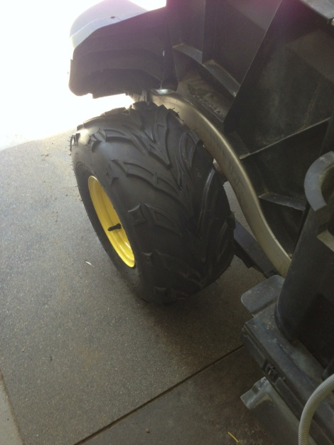 Check out the tread pattern, great for the dirt without destroying the grass.