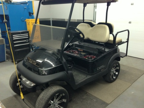 "Here is the cart ready for the upgrade. This is a beauty of a Precedent with a 3"" lift and 14"" wheel and tire package."