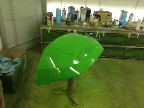 The Club Car front cowling looking awesome in the John Deere green.