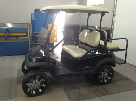"Club Car Precedent, 3"" lift kit, 14"" wheel and tire package, rear seat kit and where changing it!"