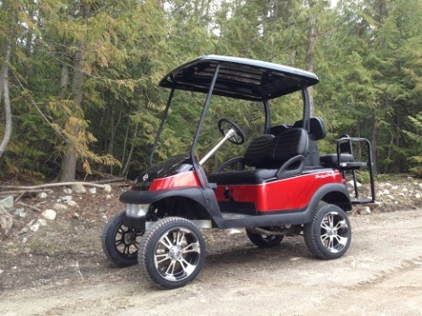 Who doesn't like a Harley themed golf cart. This one was a blast to build, given our motorcycle background. This is the one and only gas Club Car Precedent we have ever built. It lives in Edmonton Alberta and gets used for camp and golf duties.