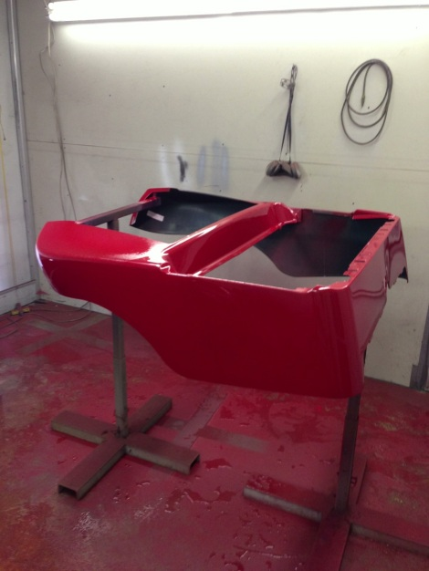 The the underbody and trim painted, we moved onto the main body.