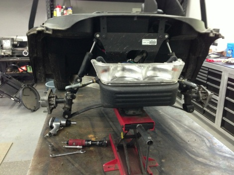 "Here you can see we have removed the 3"" lift kit and installed stock spindles back in place."