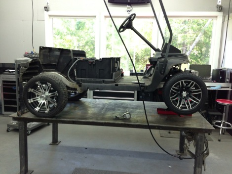 "With the stock spindles in place we installed the new 12"" wheel and tire package."