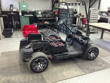 Here it is sitting back on the floor. Because this cart is getting the rear seat kit re installed we did our SC Carts soft ride HD suspension.